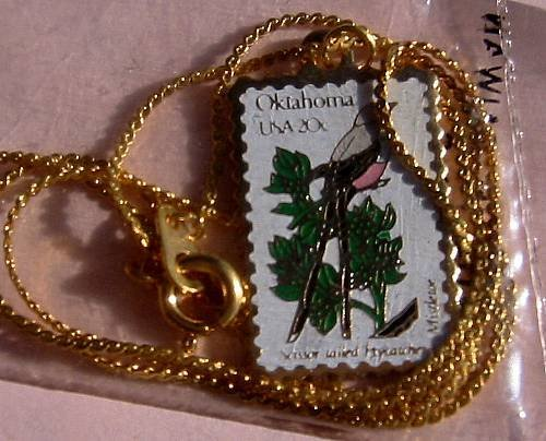 Oklahoma Flycatcher Mistletoe stamp necklace pendant 1988n s