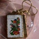 New York Eastern Bluebird Rose stamp earrings 1984ew s