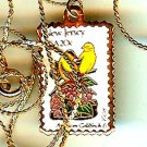 New Jersey Goldfinch stamp necklace pendant 1982n