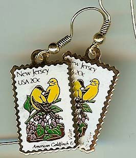 New Jersey Goldfinch Violet stamp earrings 1982ew NIP s
