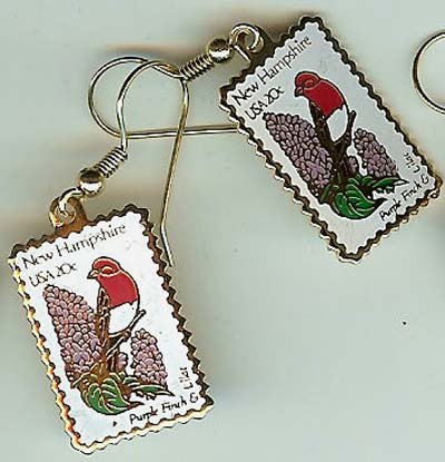New Hampshire Purple Finch Lilac stamp earrings 1981ew S