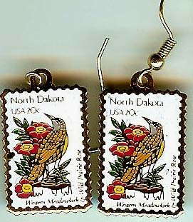North Dakota Meadowlark Rose stamp earrings 1986ew NIP s
