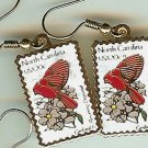 North Carolina Cardinal Dogwood stamp earrings 1985ew s
