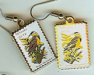 Nebraska Meadowlark Goldenrod stamp earrings 1979ew NIP s