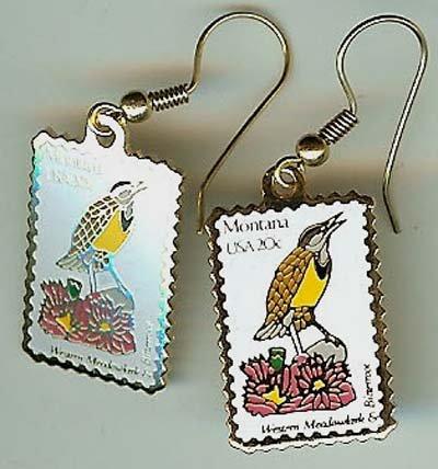 Montana Meadowlark Bitterroot stamp earrings 1978ew NIP
