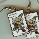 Mississippi Mockingbird Magnolia stamp earrings 1976ew s