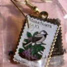 Massachusetts Chickadee Mayflower stamp earrings 1973ew s