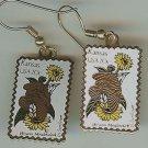 Kansas Meadowlark Sunflower stamp earrings 1968ew s