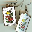 Iowa Goldfinch Wild Rose stamp earrings 1967ew NIP s