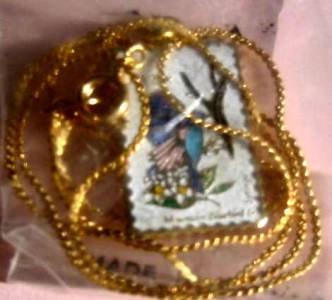 Idaho Mountain Bluebird Syringa stamp necklace 1964n S