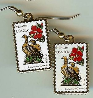 Hawaiian Goose Hibiscus Hawaii  stamp earrings 1963ew S