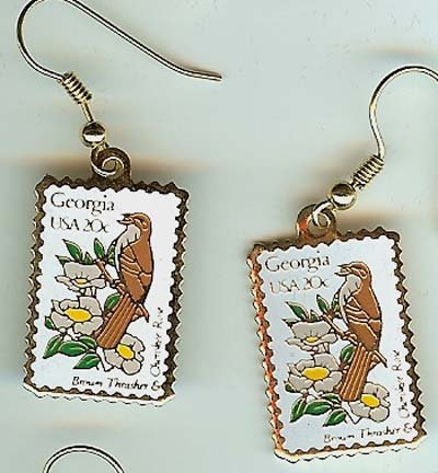 Brown Thrasher Rose Georgia stamp earrings 1962ew NIP S