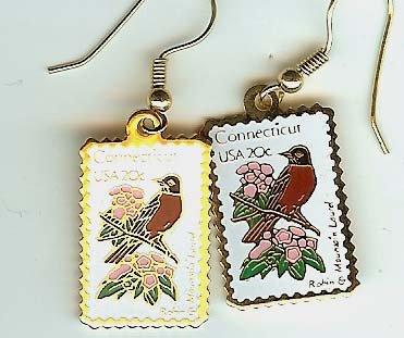 Connecticut Robin Laurel stamp earrings 1959ew NIP S