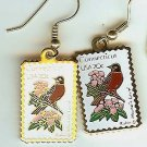 Connecticut Robin Laurel stamp earrings 1959ew NIP S