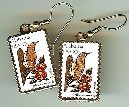 Alabama AL Camellia Yellowhammer stamp earrings 1953ew S