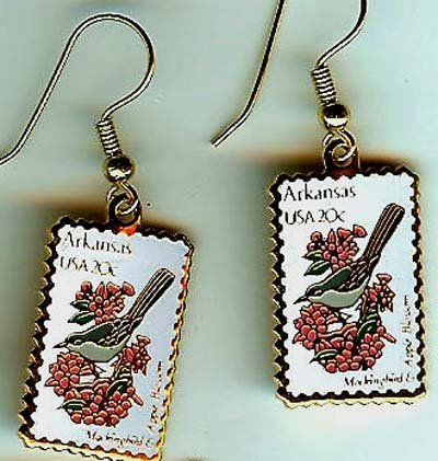 Arkansas Mockingbird Apple stamp earrings 1956ew S