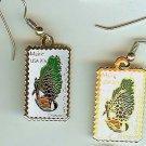 Maine Chickadee White Pine stamp earrings 1971ew S