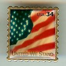 U.S. Flag United We Stand stamp pin lapel pins hat 3549 S