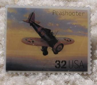 Peashooter Classic Aircraft Plane stamp pin hat 3142o s