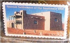 Spanish Settlement Southwest Stamp pin hat Adobe 3220 s