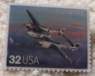Lightning P-38 Classic Aircraft Plane stamp pin 3142n s