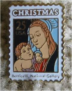Madonna Child Mary Boticelli Stamp pin lapel hat 2399 s