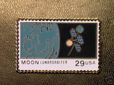 Moon Lunar Orbiter NASA stamp pin lapel pins hat 2571 s