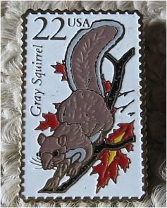 Gray Squirrel Wildlife stamp pin lapel hat tie tac 2295 S