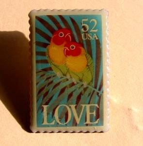 Love Birds1991 Stamp pin lapel pins tie tac hat 2537 S