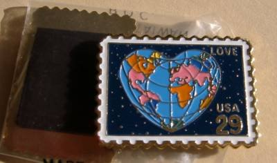 Global World Love stamp magnet cloisonne new 2536mg NIP s