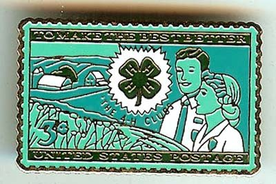 4-H Club Stamp pin 4H Agriculture lapel pins 1005 small S