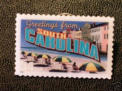 South Carolina Greetings Stamp Pin lapel pins 3735 NIP S