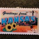 Kansas Greetings Stamp Pin lapel pins tie tac hat 3711 S