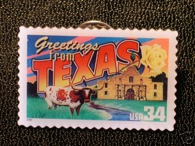 Texas Greetings Stamp Pin lapel pins tie tac 3738 NIP S