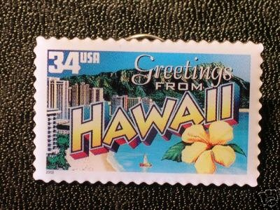Hawaii Greetings Stamp Pin lapel pins tie tac 3706 S