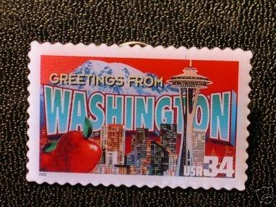 Washington Greetings Stamp Pin lapel pins tie tac 3742 S