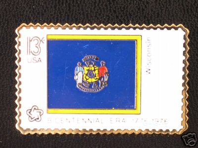 Wisconsin State Flag stamp pin lapel hat tie tac 1662 S