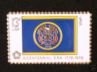 Utah State Flag stamp pin lapel hat tie tac 1677 NIP S