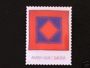 Amish Quilt Orange Diamond Stamp pin lapel hat 3524 S