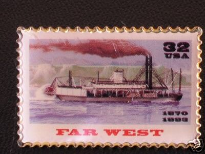 Far West Riverboat Stamp Pin lapel pins hat new 3093 S