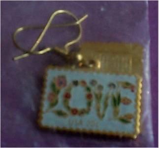 Floral Love Stamp cloisonne dangle earrings 1951ew S