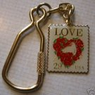Floral Heart Love Stamp cloisonne keychain 2814kc S