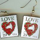 Floral Heart Love Stamp cloisonne earrings 2814ew S