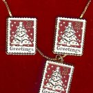 Christmas Tree stamp earrings necklace set 2515epn S