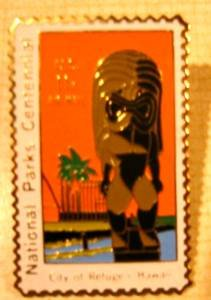 Hawaii City of Refuge National Park Stamp Pin lapel C84 S