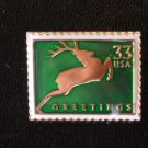 Green Reindeer stamp pin lapel Christmas tie tac 3359 S