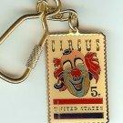 Circus Clown Stamp Keychain Cloisonne 1309kc NIP S