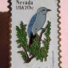 Nevada Mountain Bluebird Sagebrush stamp pin lapel 1980 S
