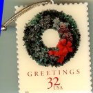 Christmas Wreath Evergreen Stamp ornament metal 3245orn S