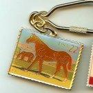 Quarterhorse Quarter Horse Stamp cloisonne keychain NIP 2155kc S